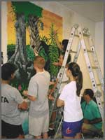 Tampa Prep Students painting with Carl Cowden
